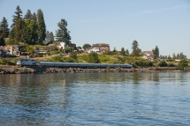 Amtrak Cascades train #501 proceeds south through Steilacoom.