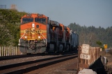 BNSF C44-9W 4470 leads a northbound manifest across bridge 15.9 just before the Steilacoom ferry dock.